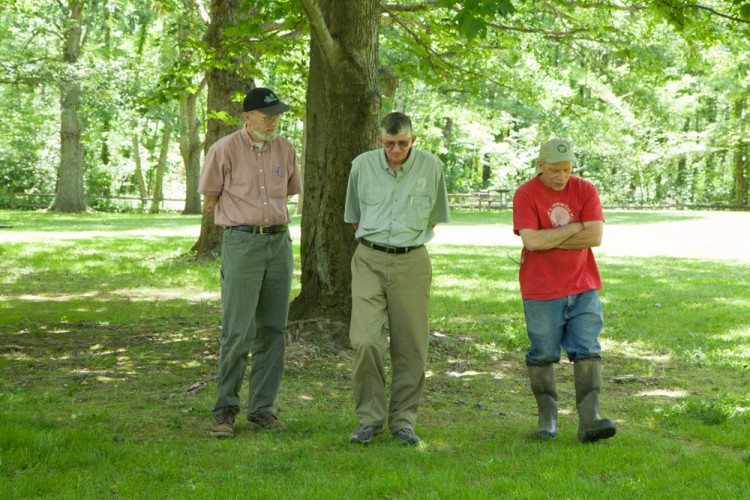 Jim, Ray and Bill discussing their recent experiences hunting mosses and lichens.